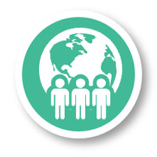 ICON - silhouettes of people next to the globe