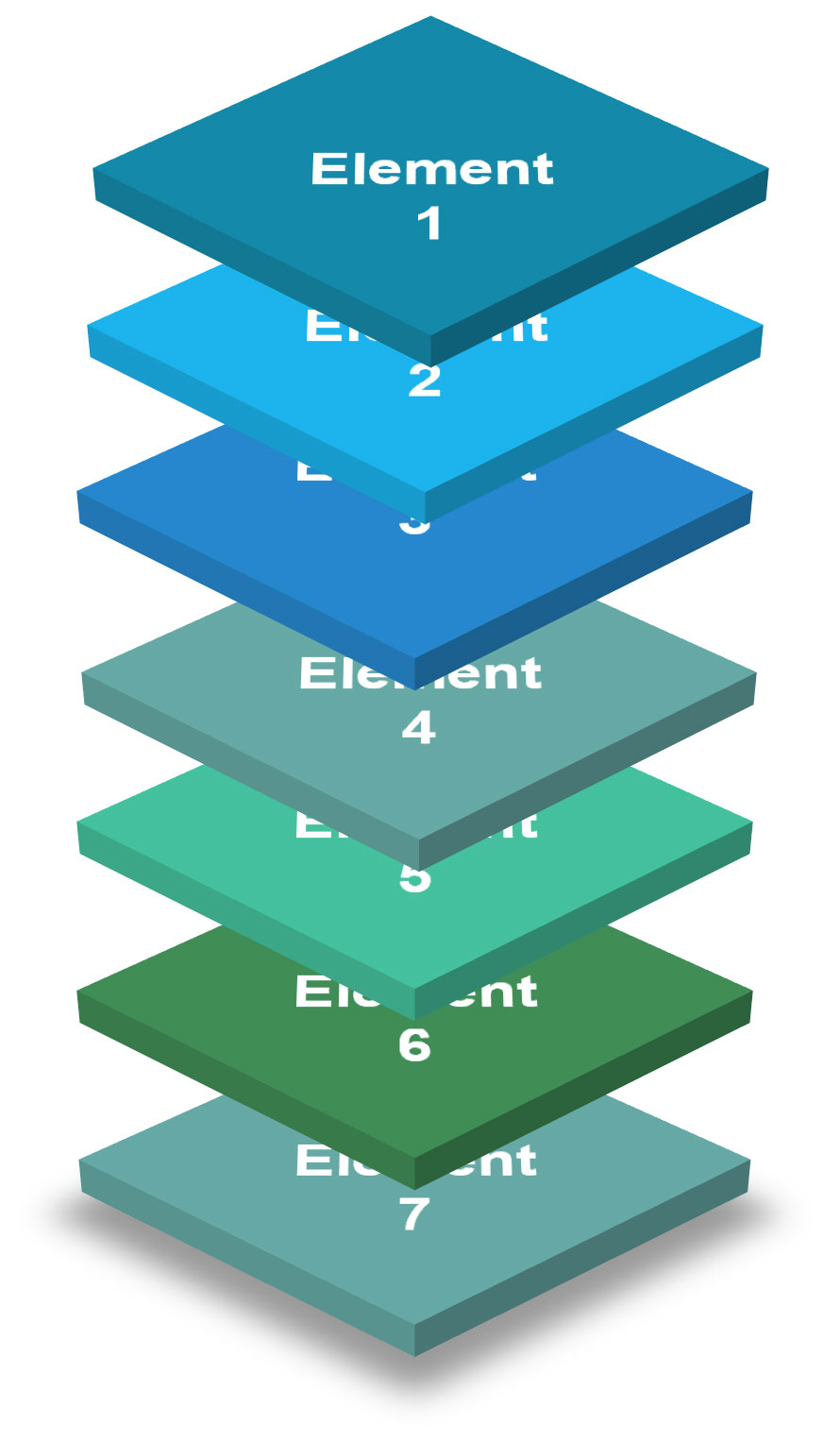 """seven boxes stacked on top of each other with """"Element 1 - 7"""""""