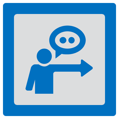 ICON - silhouette pointing to the right with a quote box